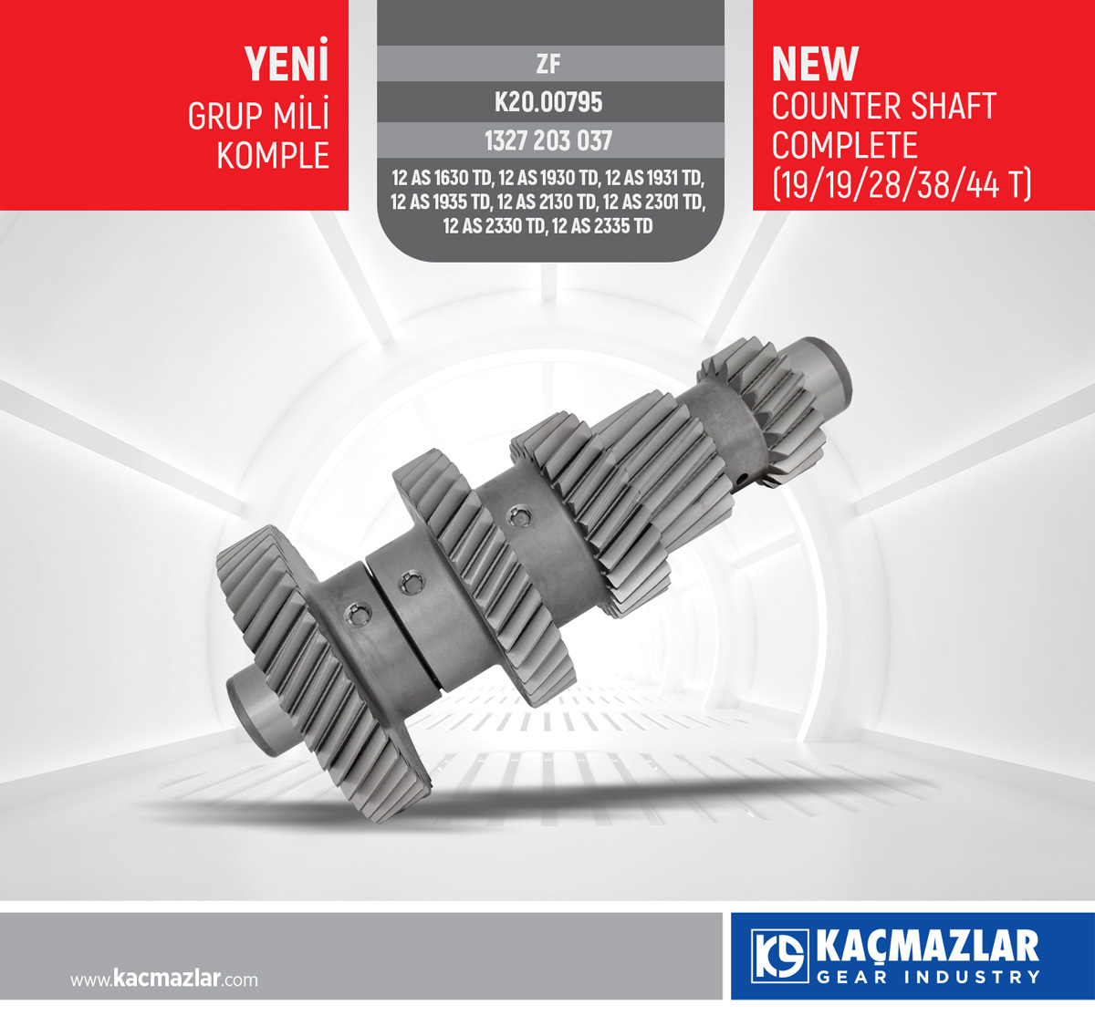 KAMALI MİL - COUNTER SHAFT COMPLETE (19/19/28/38/44 T) / ZF